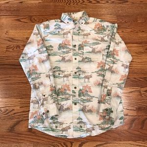 Long Sleeve Button Down Shirt With Moose Print